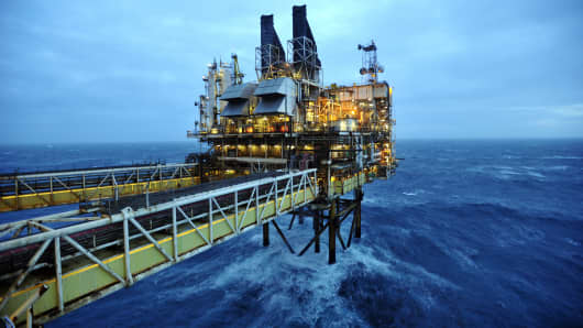 A general view of the BP ETAP (Eastern Trough Area Project) oil platform in the North Sea around 100 miles east of Aberdeen, Scotland.