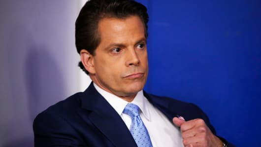 Anthony Scaramucci stands by all over the every day briefing on the White House in Washington, July 21, 2017.