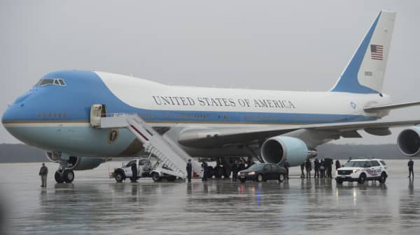 Air Force One, a heavily modified Boeing 747 at Andrews Air Force Base in Maryland.