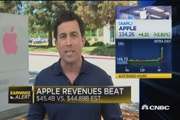 Apple beats on top line