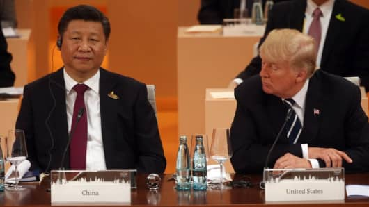 U.S. President Donald Trump and Chinese President Xi Jinping during the plenary session at the G20 Summit on July 7, 2017 in Hamburg, Germany.