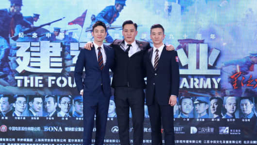 "Actors Zhu Yawen, Liu Ye and Huang Zhizhong attend a press conference for ""The Founding of an Army"" in Beijing, China."