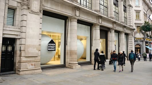 A general view of the Dover Street Market London store on March 18, 2016 in London, England.