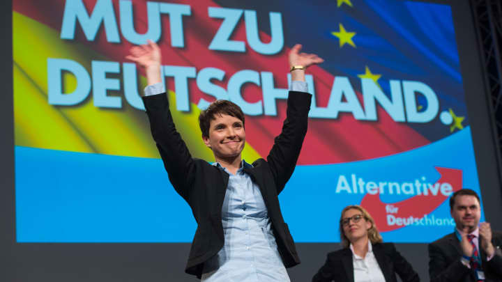 Chairwoman Frauke Petry reacts after her speech during the AfD (Alternative fuer Deutschland) federal party congress on November 28, 2015 in Hanover, Germany.