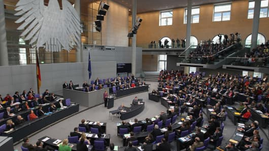 German Chancellor Angela Merkel gives a government declaration supporting the passage of a second aid package for Greece before a vote in the Bundestag on February 27, 2012 in Berlin, Germany.