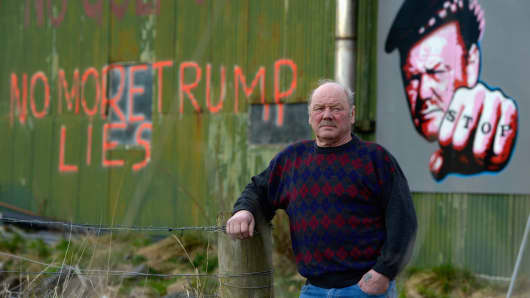 Michael Forbes stands beside his shed, near to Donald Trump's golf course which is currently under construction on the Menie estate on April 23, 2012 in Aberdeen, Scotland.