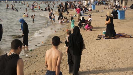 A public beach near the famous Corniche in Jeddah, Saudi Arabia.