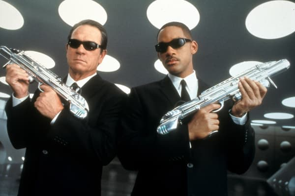 "In this film image, Tommy Lee Jones, left, and Will Smith are shown in a scene from ""Men in Black II."""