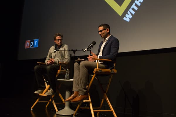 "Jonah Peretti speaks to Guy Raz at a live taping of NPR's ""How I Built This"" in New York City"