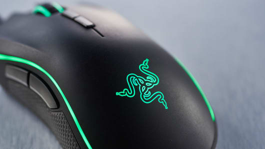 Detail of a Razer gaming mouse, taken on March 2, 2016.