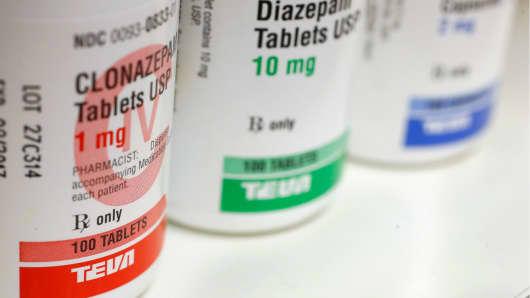 Bottles of medication made by Teva Pharmaceutical Industries.