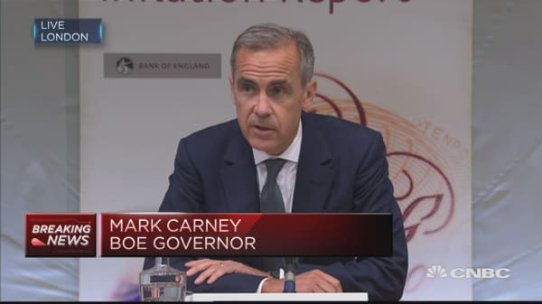 BOE's Carney: Consequences of sterling fall have had real impact