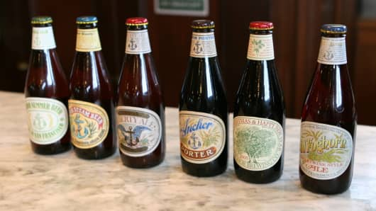 A selection of Anchor Brewery beers in San Francisco.