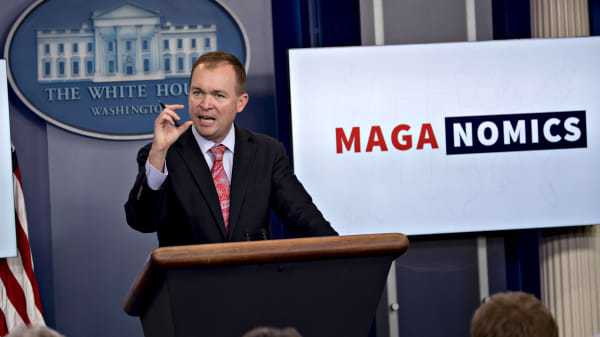 Mick Mulvaney, director of the Office of Management and Budget (OMB), speaks during a White House press briefing in Washington, D.C., U.S., on Thursday, July 20, 2017.