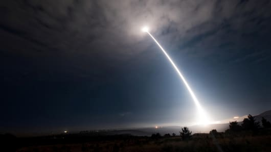An unarmed Minuteman III intercontinental ballistic missile launches during an operational test.