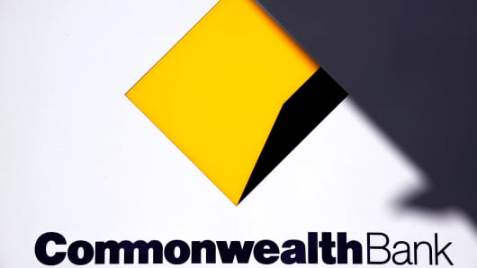 Australia's Commonwealth Bank logo is pictured at a branch in Sydney