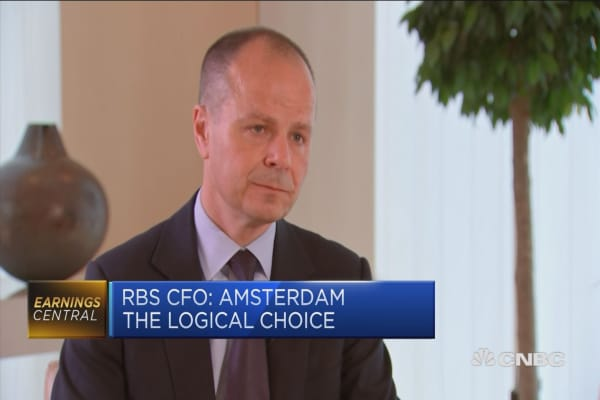 Talking to Dutch National Bank about European HQ: RBS CFO No ore than 150 people