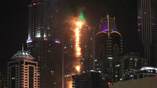 Elite Residences Tower on fire in Dubai Marina on August 4, 2017 in Dubai, United Arab Emirates.