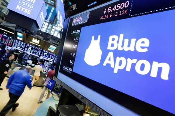 The Blue Apron logo appears above a trading post on the floor of the New York Stock Exchange, July 18, 2017.