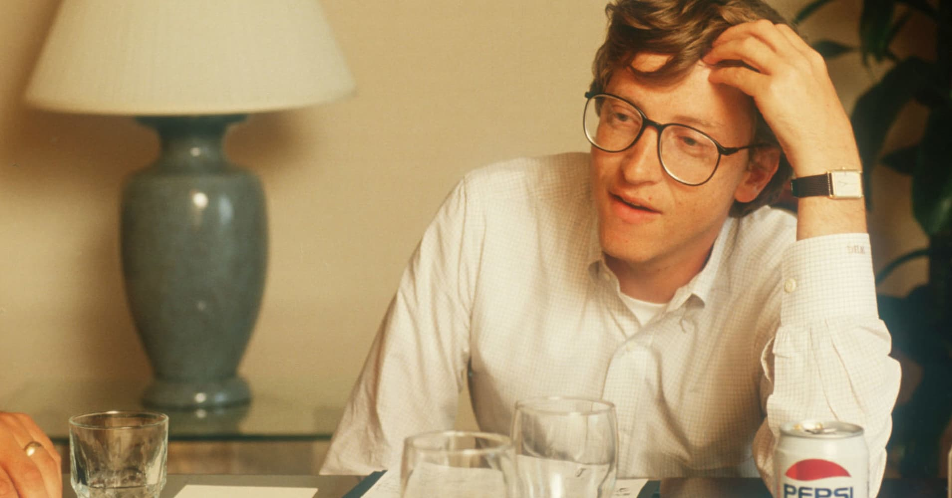 Microsoft co-founder Bill Gates, at age 32, in a meeting on January 1, 1988.