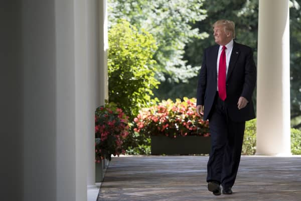 US President Donald Trump walks down the West Wing Colonnade to speak to the American Legion Boys Nation and the American Legion Auxiliary Girls Nation in the Rose Garden of the White House.