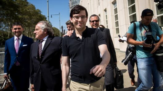 Lead defense attorney Benjamin Brafman walks with former pharmaceutical executive Martin Shkreli after the jury issued a verdict at the U.S. District Court for the Eastern District of New York, August 4, 2017 in the Brooklyn borough of New York City.