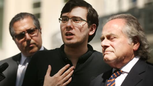 Former pharmaceutical executive Martin Shkreli speaks to the media in front of U.S. District Court for the Eastern District of New York with members of his legal team after the jury issued a verdict, August 4, 2017 in the Brooklyn borough of New York City.