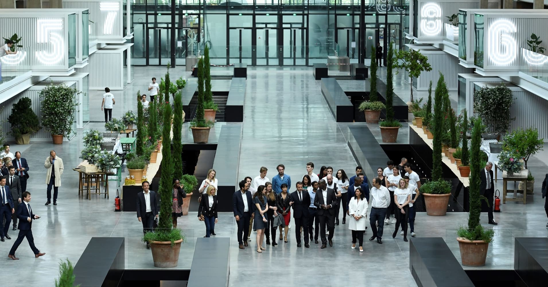 France's President Emmanuel Macron tours the world's biggest start-up incubator Station F