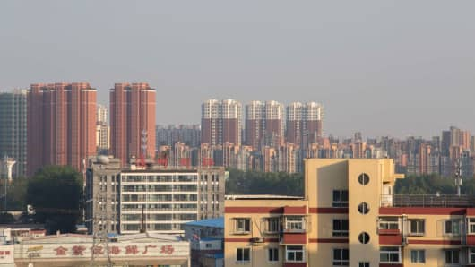 Residential buildings in Tongzhou District on May 31, 2017 in Beijing, China.