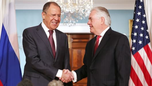 Russian Foreign Minister Sergey Lavrov and U.S. Secretary of State Rex Tillerson shake hands at the State Department May 10, 2017 in Washington, DC.