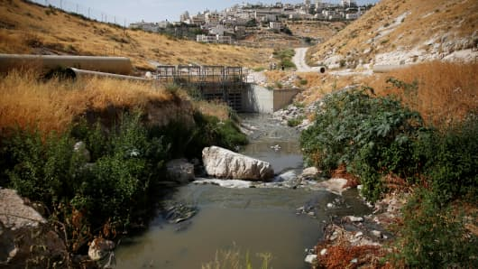 Sewage flows in Kidron Valley, on the outskirts of Jerusalem