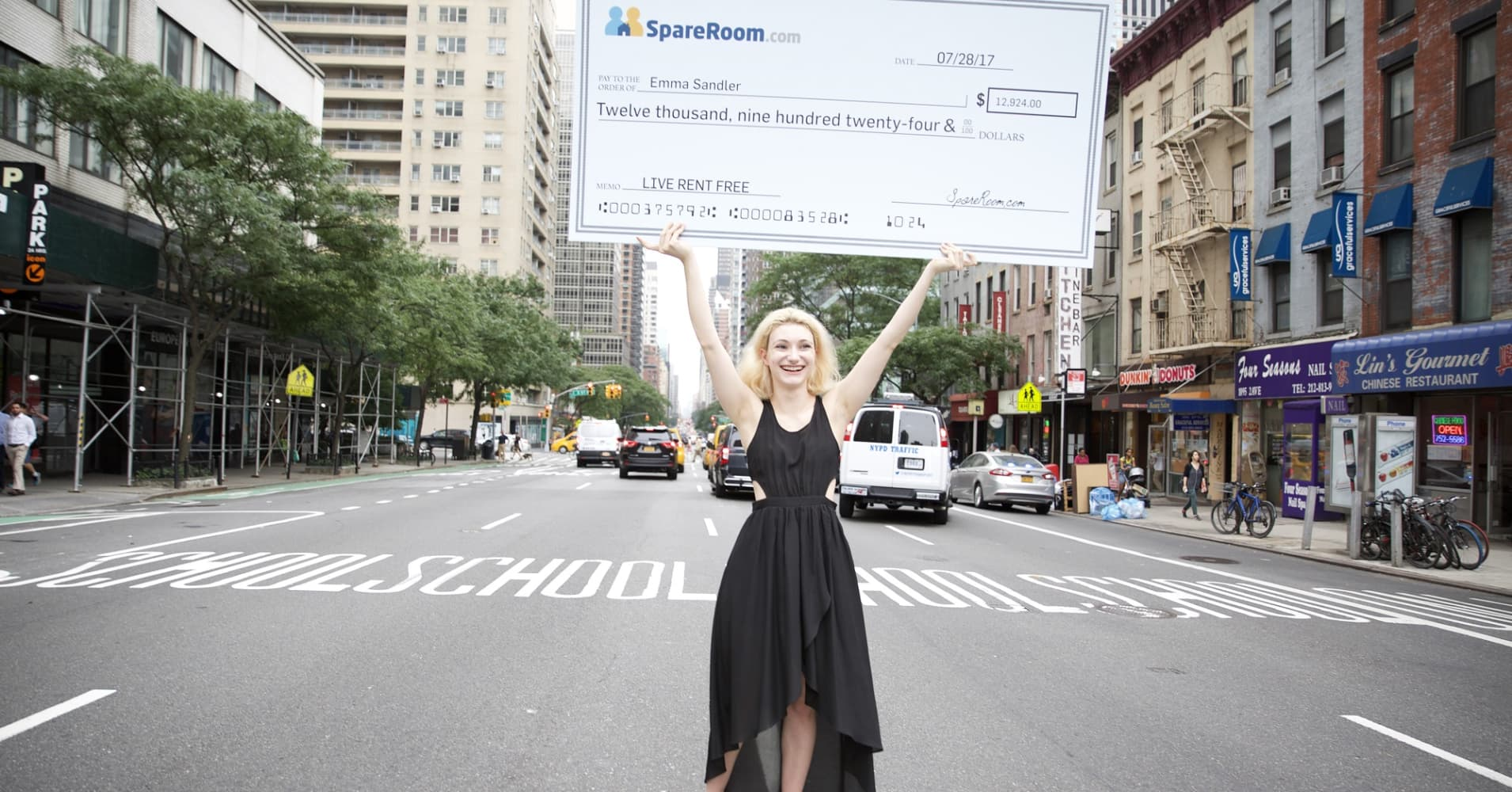 New York City-based Emma Sandler received a check for $12,924, the equivalent of a year's worth of her rent