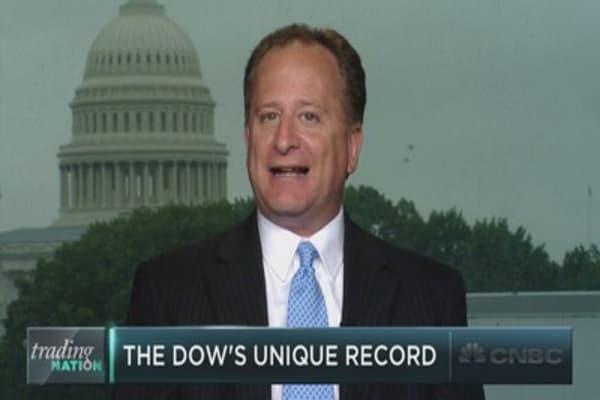 The Dow logs ultra-rare winning streak