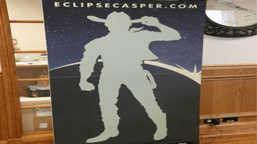 A poster in the the Casper (Wyo.) Area Convention and Visitor's Bureau shows an Eclipse countdown clock.