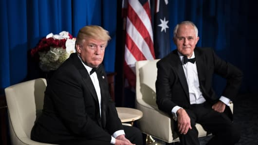 US President Donald Trump (L) and Australian Prime Minister Malcolm Turnbull (R) sit before a meeting onboard the Intrepid Sea, Air and Space Museum May 4, 2017 in New York, New York.