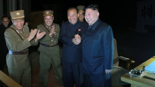 North Korean leader Kim Jong Un guides the second test-fire of intercontinental ballistic missile (ICBM) Hwasong-14.
