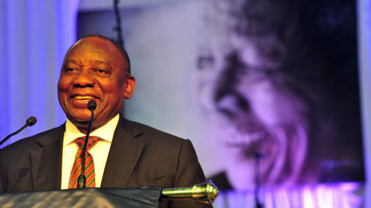 Deputy President Cyril Ramaphosa delivers a keynote address during the official renaming ceremony of the Nelson Mandela University