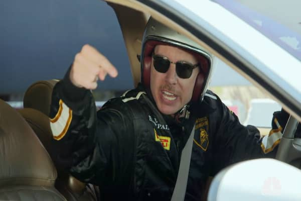 Jay Leno and Dax Shepard trash talk before a Buick race