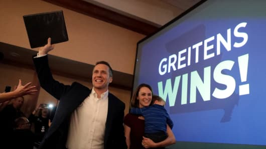 Eric Greitens and his wife, Sheena, celebrate his victory in the 2016 election for Missouri governor.