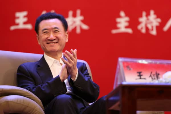Wanda Group's chairman Wang Jianlin makes speech at China University of Political Science and Law on May 12, 2017 in Beijing, China.