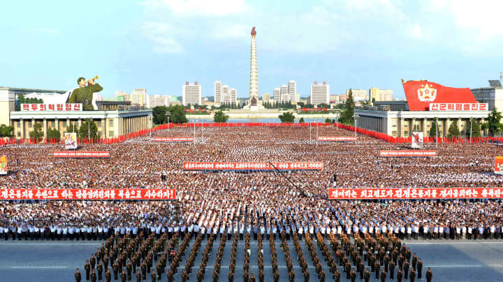 A general view shows a Pyongyang city mass rally held at Kim Il Sung Square on August 9, 2017.