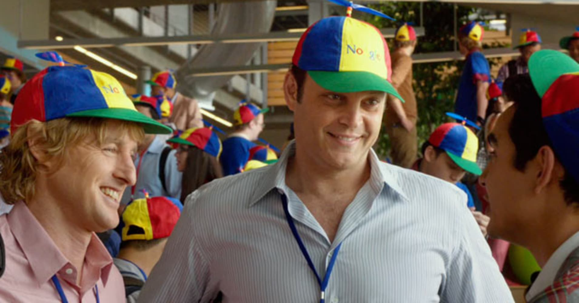 A scene starring Owen Wilson and Vince Vaughn in the Internship.