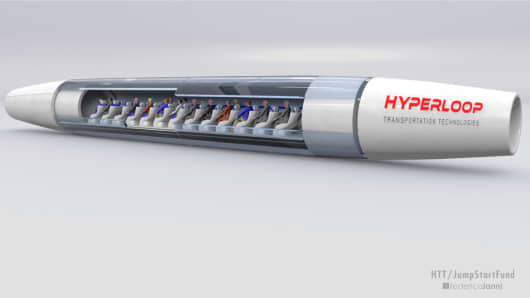 Concept art for a Hyperloop Transportation Technologies capsule