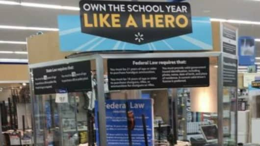 A Twitter user posted a photo from Walmart showing a back to school gun display.