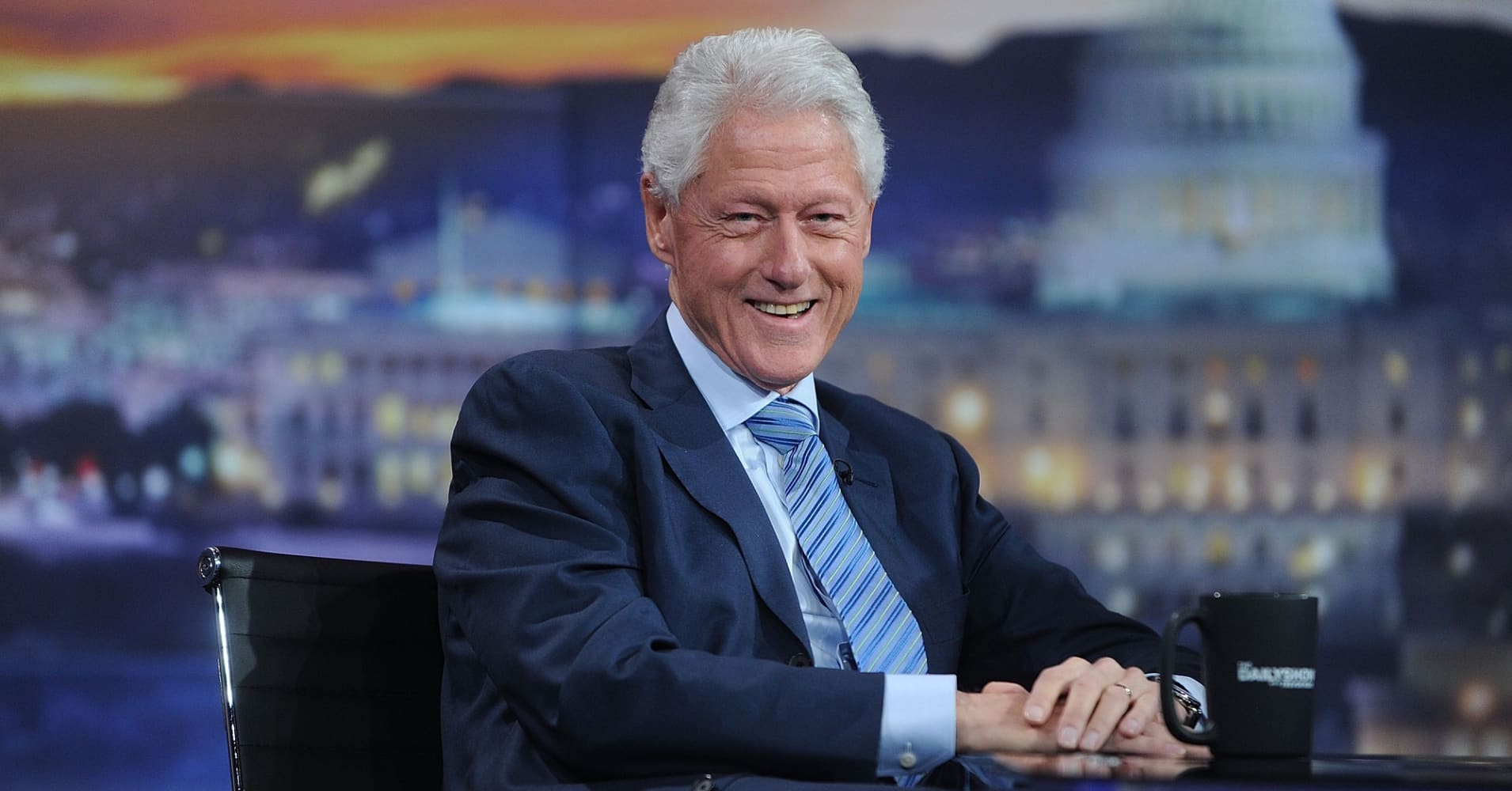 Former President Bill Clinton attends The Daily Show with Trevor Noah on Comedy Central.