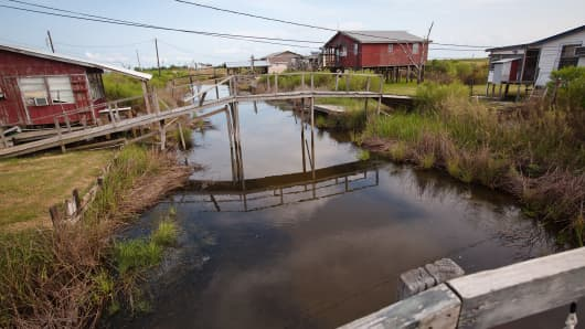 Fishing camps on Isle de Jean Charles in Terrebonne Parish Louisiana. The Island is under constant threat of flooding due to coastal erosion.