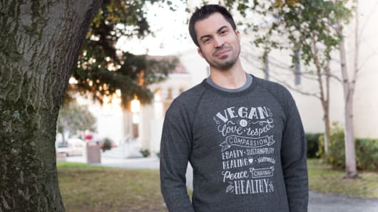 "Bio-tech entrepreneur Ryan Bethencourt is a member of the ""vegan mafia"""