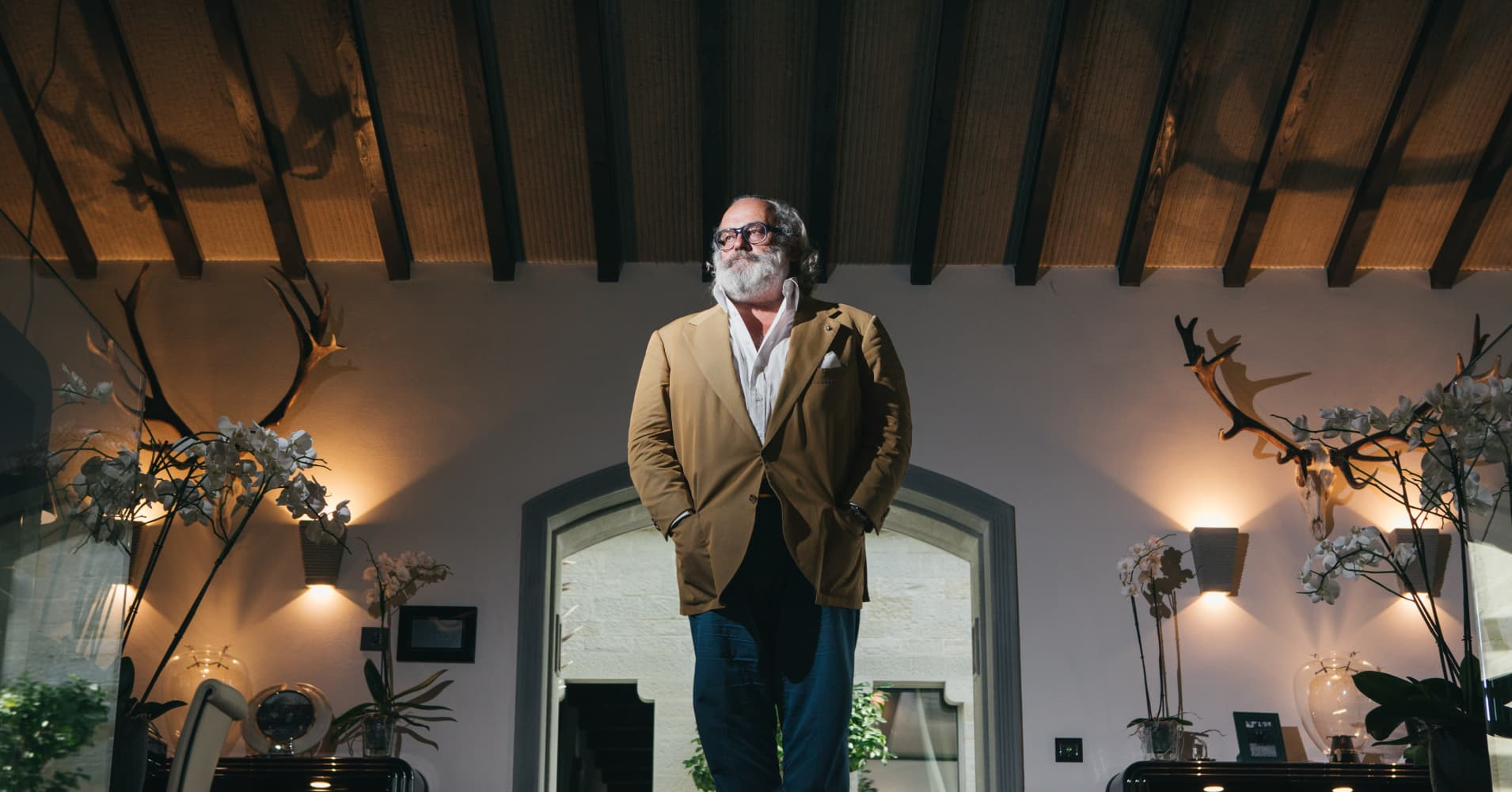 Stefano Ricci, the luxury menswear designer, at his castle in the Tuscan hills in Firenzuola, Italy, Aug. 3, 2017. Over four decades, Stefano Ricci's label has come to occupy a unique place in the fashion firmament, outfitting everyone from Kremlin power brokers and Middle Eastern oil scions to celebrities and western leaders. (Majlend Bramo/The New York Times)