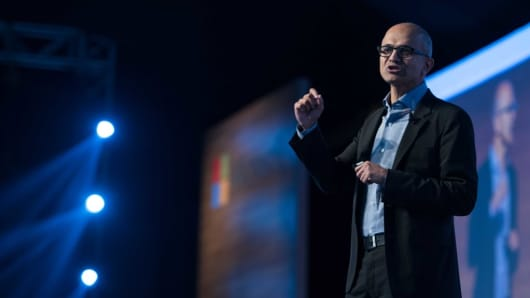 Microsoft CEO Satya Nadella delivers his keynotes at the company's flagship technology and business conference -- Future Decoded 2017 in Mumbai, India.