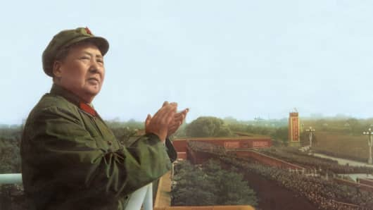 Mao Tse Toung (1893-1976) chinese president here during review of army of The Great Proletarian Cultural Revolution in Pekin, November 3, 1967.